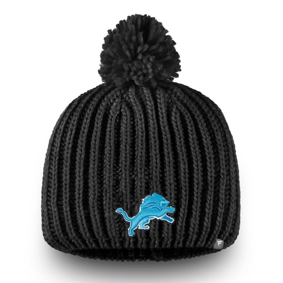 Women s Detroit Lions NFL Pro Line by Fanatics Branded Black Iconic Ace  Knit Hat With d5517e14f52e