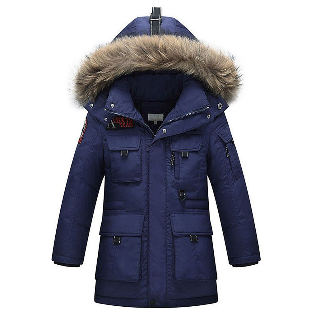 Ljyh Kids Fur Hooded Down Jacket 2017 Winter Big Boys Fashion Overcoat Material 100 Polyester Upper And Linings Whit Hooded Outerwear Boys Coat Boys Jacket [ 1000 x 1000 Pixel ]