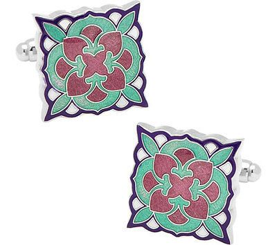 Cufflinks Inc Men's Teal And Purple Deco Bloom Cufflinks Turquoise Size 0.75