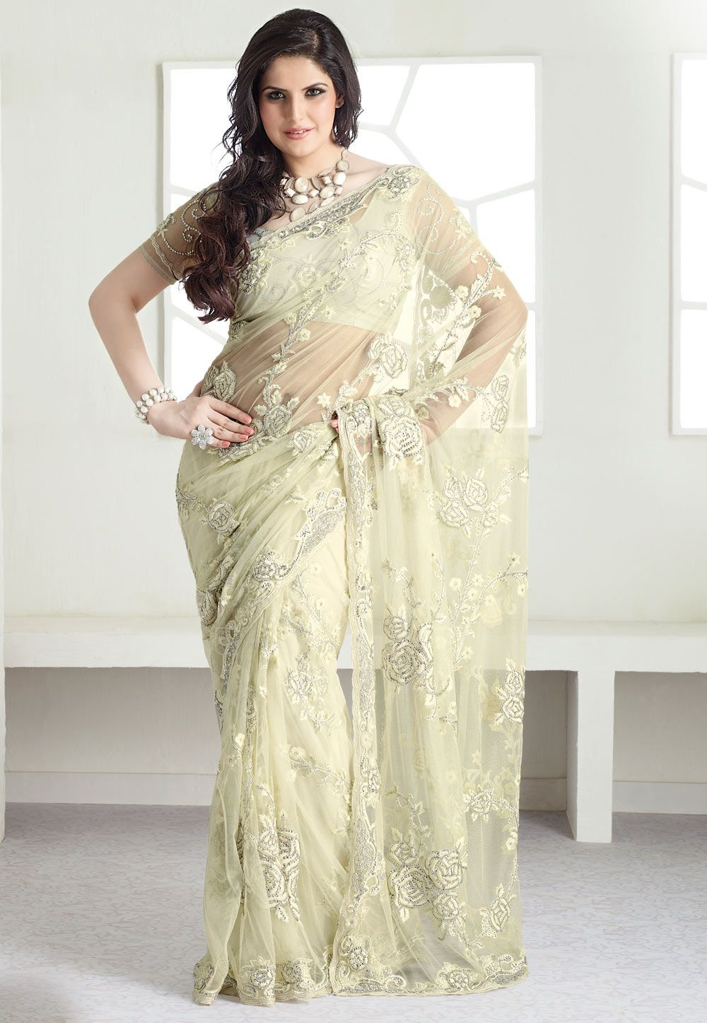 6ee4513f78a Saree Online Shopping  Buy Latest Indian Sarees at Best Price. Cream Net  Saree With Blouse    149.73
