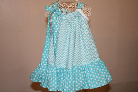 Baby Girls 12 mo Small  AQUA  CHEVRON by SewUniqueGifts4U on Etsy