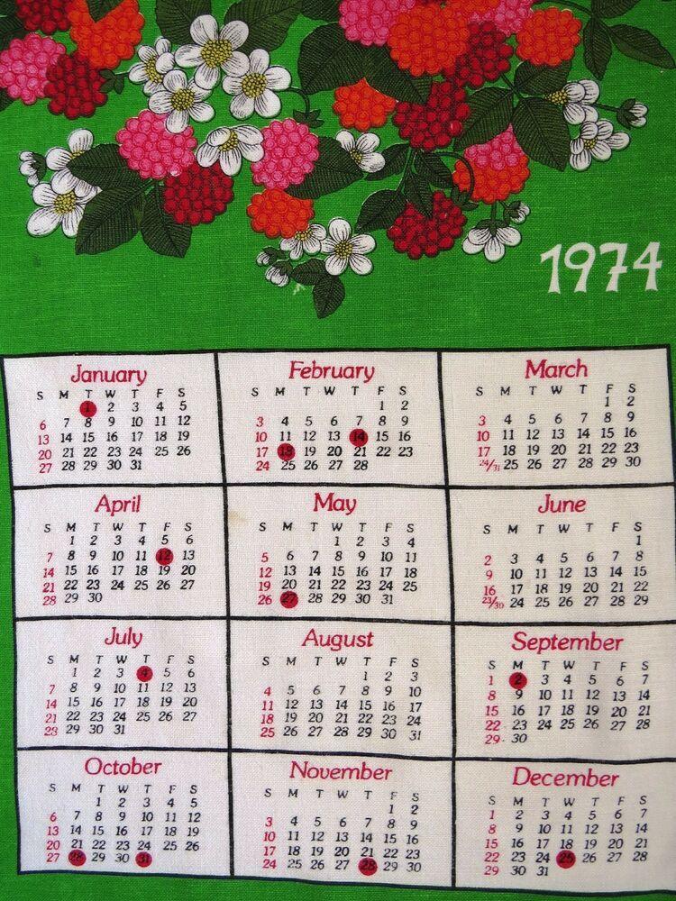1974 Calendar Tea Dish Towel Red Pink Raspberries Wall Hanging