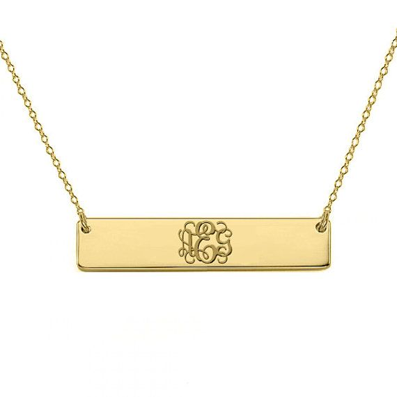 Gold Monogram Bar Necklace 18k Plated By Shortiescupcakes