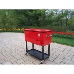 Outdoor Patio Black/Red Metal Outdoor Cooler Cart : Target Mobile