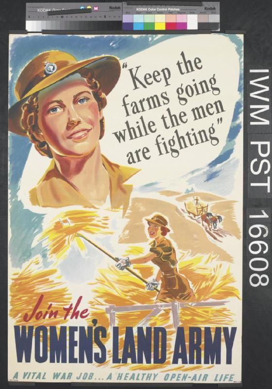 Join the Women's Land Army -- WWII propaganda poster (Australia, UK), 1943