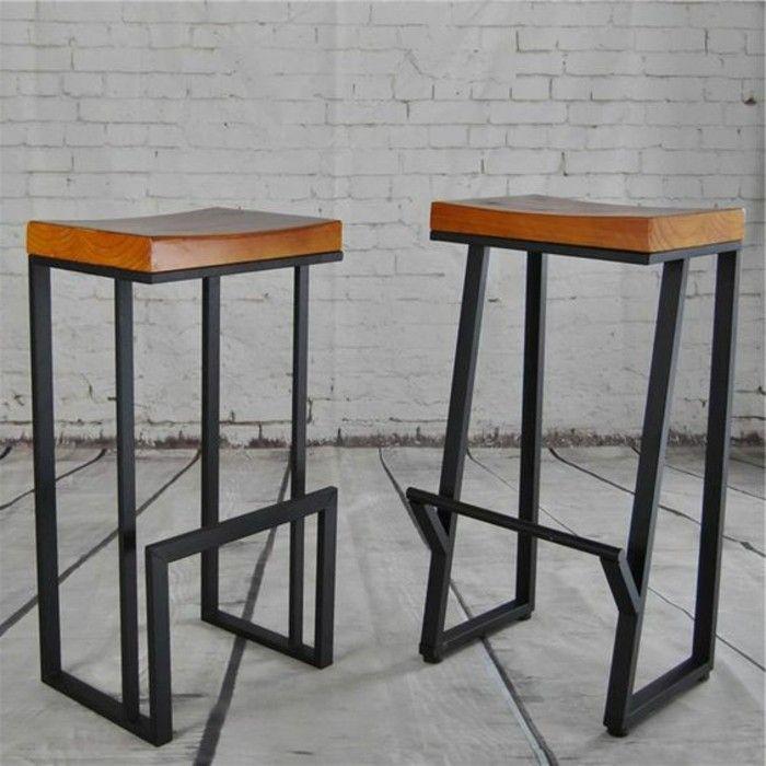 tabouret de bar bois metal excellent tabouret en pin massif with tabouret de bar bois metal. Black Bedroom Furniture Sets. Home Design Ideas