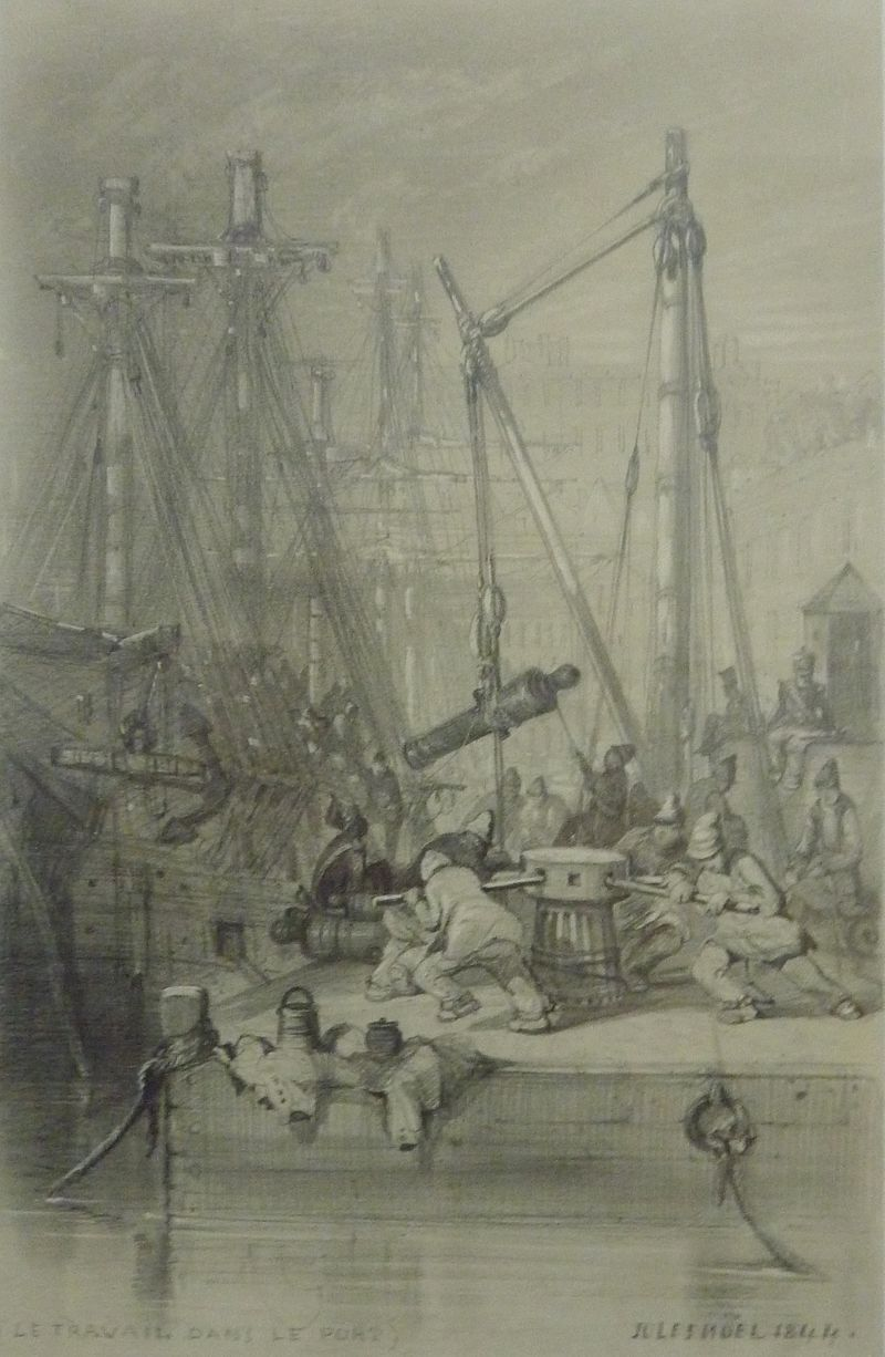 Bagnards Du Bagne De Brest Le Travail Dans Le Port Dessin 1844 Musee Des Beaux Arts Brest Beaux Arts