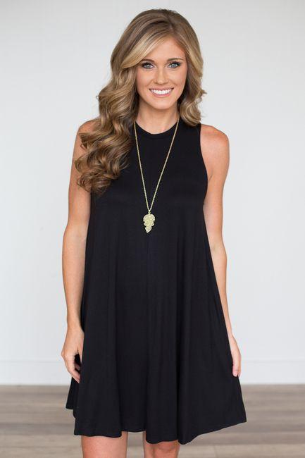ed03b242db7 Shop our High Neck Sleeveless Swing Dress. Black sleeveless dress featuring  high…