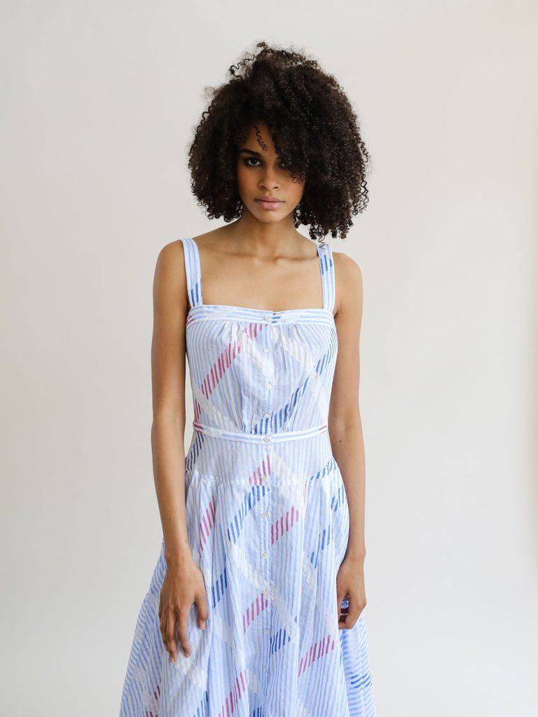 Thierry colson rossana dress blue red print