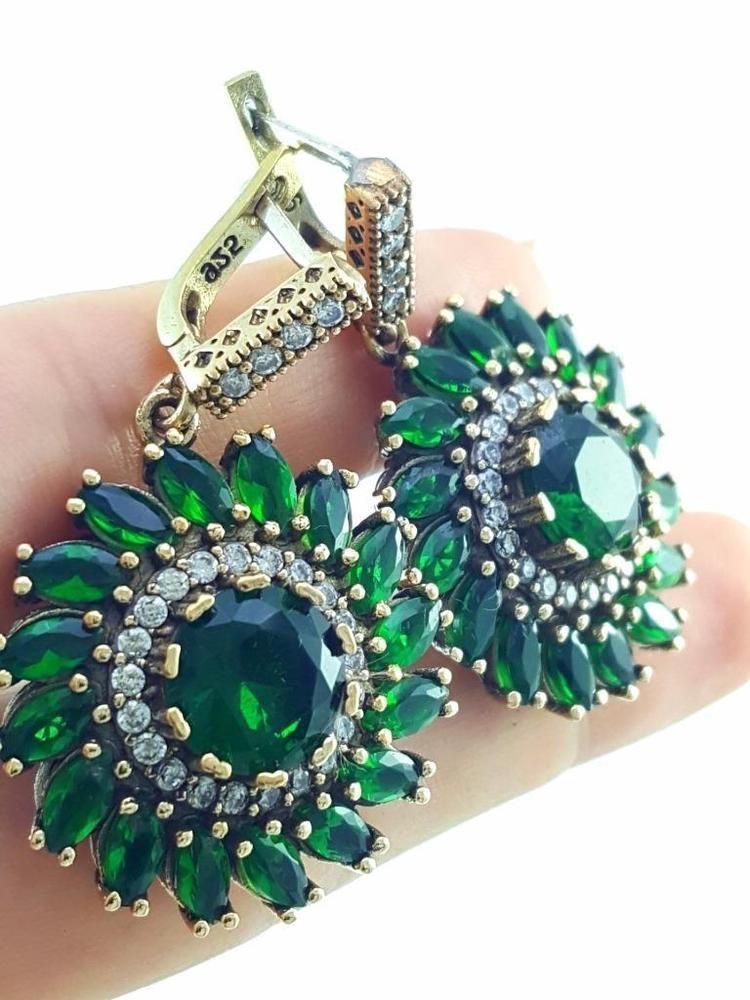 Turkish Handmade Jewelry 925 Sterling Silver Antique Emerald Earrings A52 Ebay