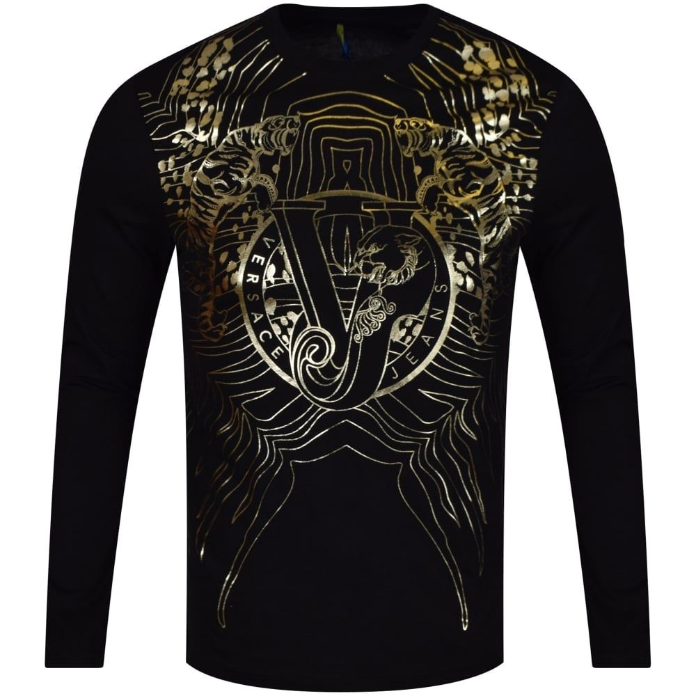 0c6cadfd9a745d VERSACE JEANS Versace Jeans Gold Design Long Sleeved T-Shirt - T-Shirts  from Brother2Brother UK