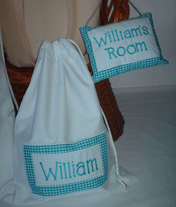 Personalized Travel Laundry Bag & Room Name Dropper Gift Set for Baby Boys. $75.00, via Etsy.