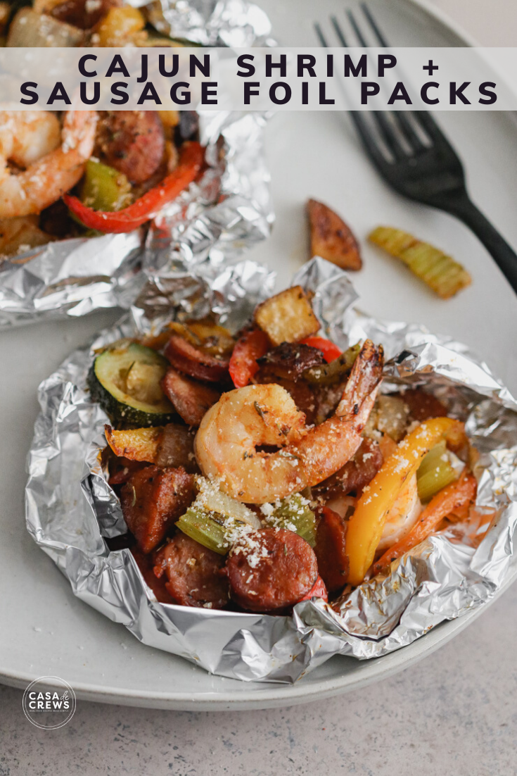 cajun shrimp and sausage foil packs on the grill or in the oven for an easy meal! #foilpackdinners #grilling #shrimprecipes #cajunrecipes #summerbbq