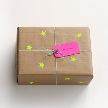 packaging, DIY wrapping, stamped neo stars, twine, neon tags