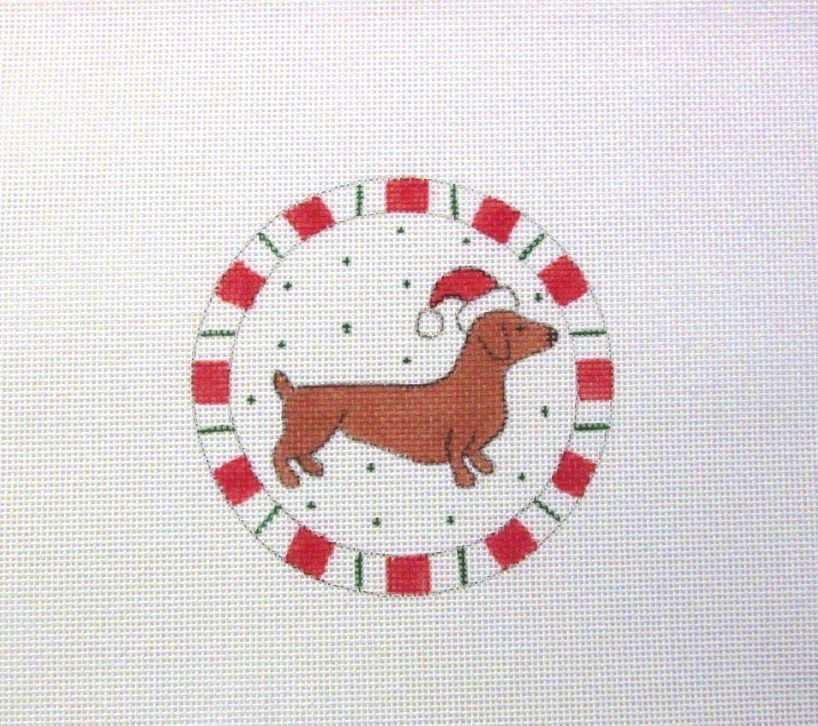 $13.95    Peppermint Candy Ring Dachshund Doxie Weenie Dog Handpainted Needlepoint Canvas #Unbranded