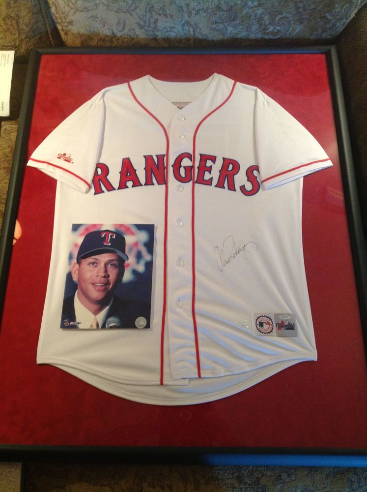sports shoes 0aac6 38c89 alex rodriguez signed framed authentic texas rangers ...