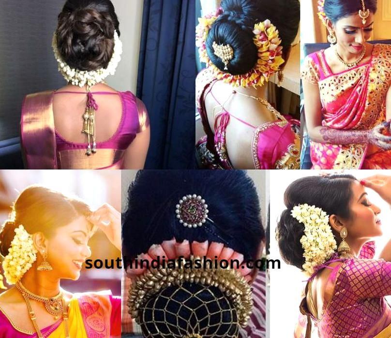South Indian Bridal Updo Indian Bridal Hairstyles Hairdo Wedding Bridal Hair Buns
