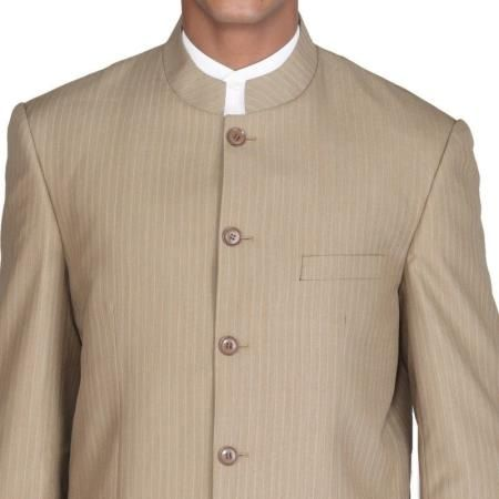 Men Leisure Banded Collar Single Breasted Traditional Mandarin Tunic Suit Coat