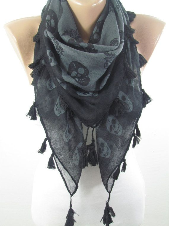 STUNNING WOMEN/'S SKULL /& CROSSBONES SCARF SHAWL DRESS AUTUMN PARTY ACCESSORY
