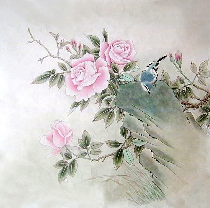 Chinese Rose Painting Rose 2462009 69cm X 69cm 27 X 27 Rose Painting Painting Artist Painting