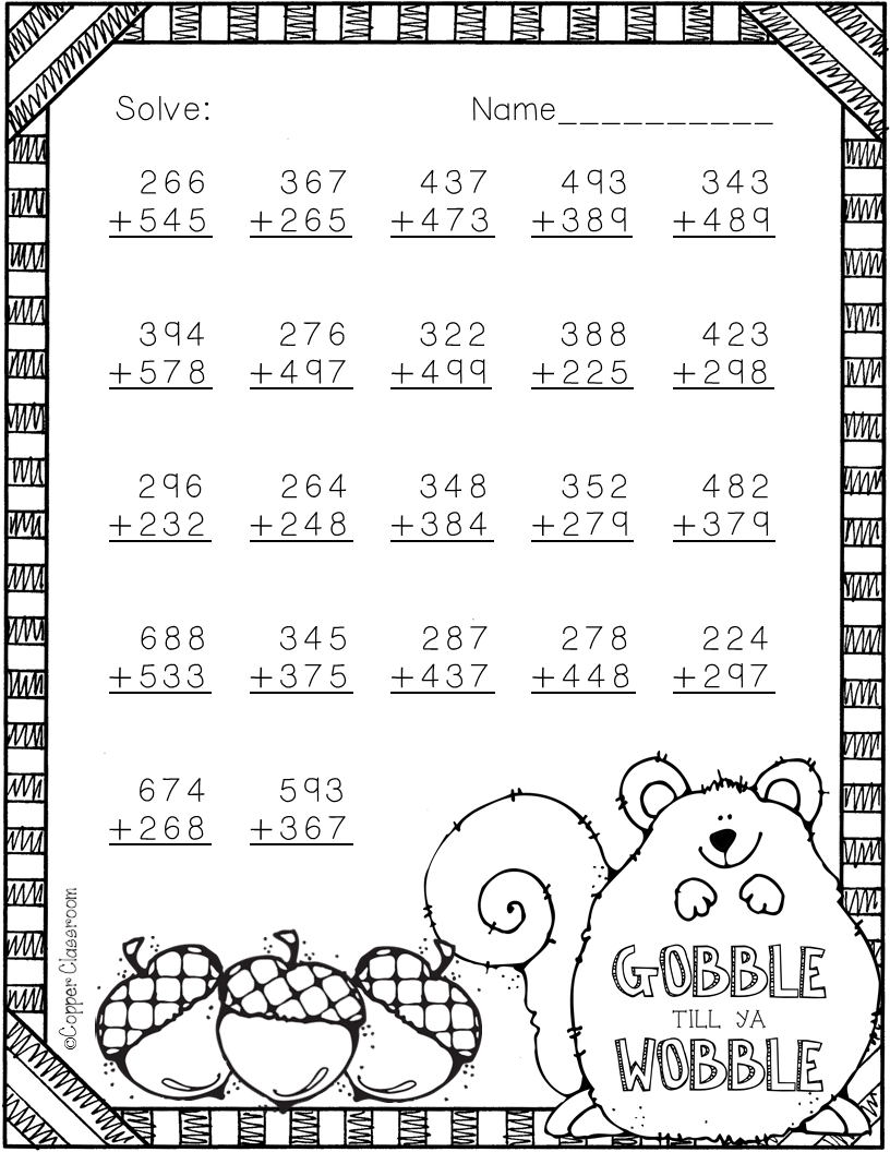 3 nbt 2 thanksgiving themed 3 digit addition with regrouping teacherspayteachers. Black Bedroom Furniture Sets. Home Design Ideas
