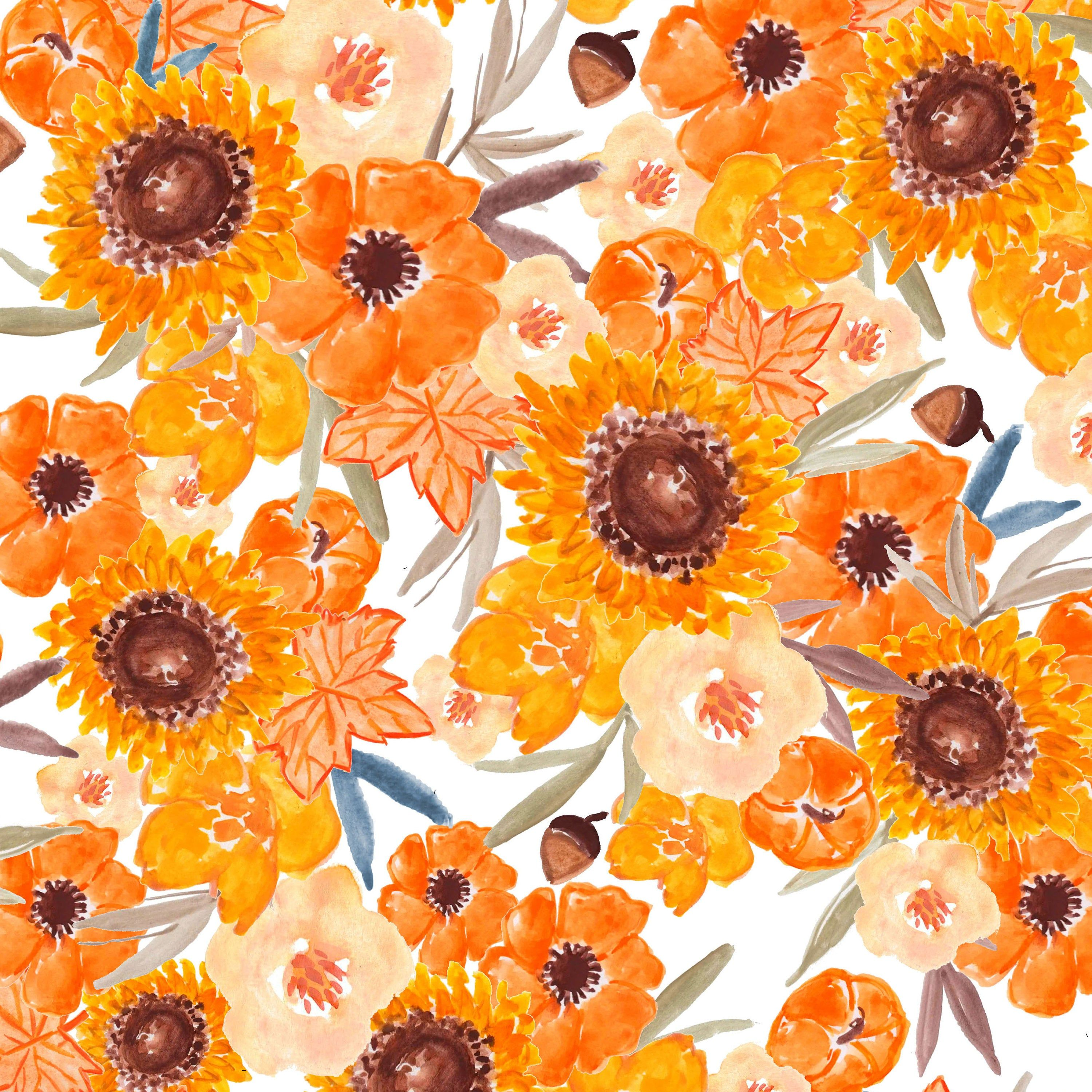 Sunflower Fabric By The Yard Flowers Botanical Watercolor