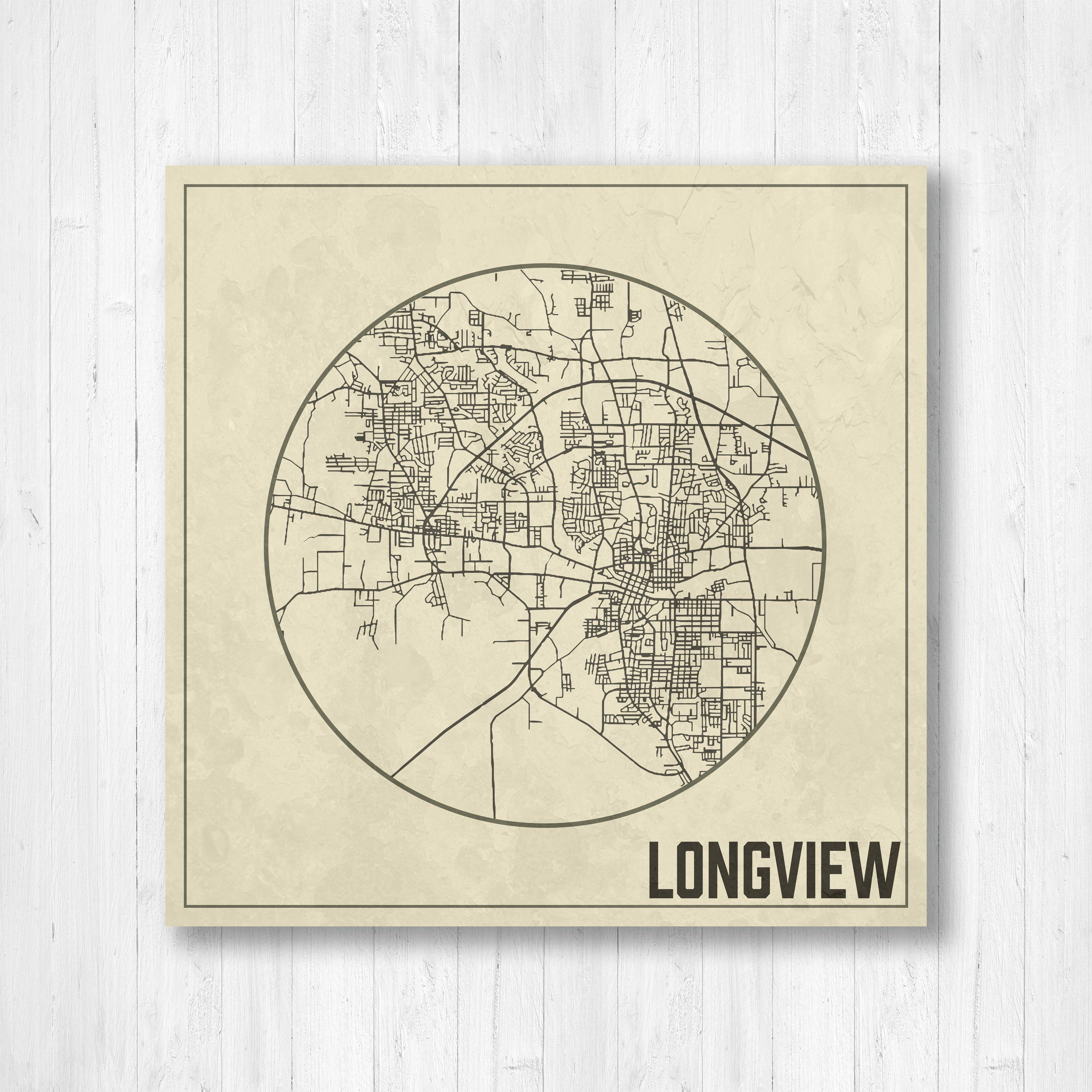 Map Of Texas Longview.Longview Texas Longview City Map Map With Streets Weathered Map