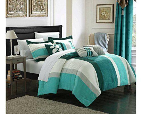 Chic Home 7-Piece Highland Plush Micro Suede Striped Comforter Set, Queen, Blue/Turquoise/Grey Chic Home http://www.amazon.com/dp/B00PLKE5B4/ref=cm_sw_r_pi_dp_0mijwb0FZ72BA