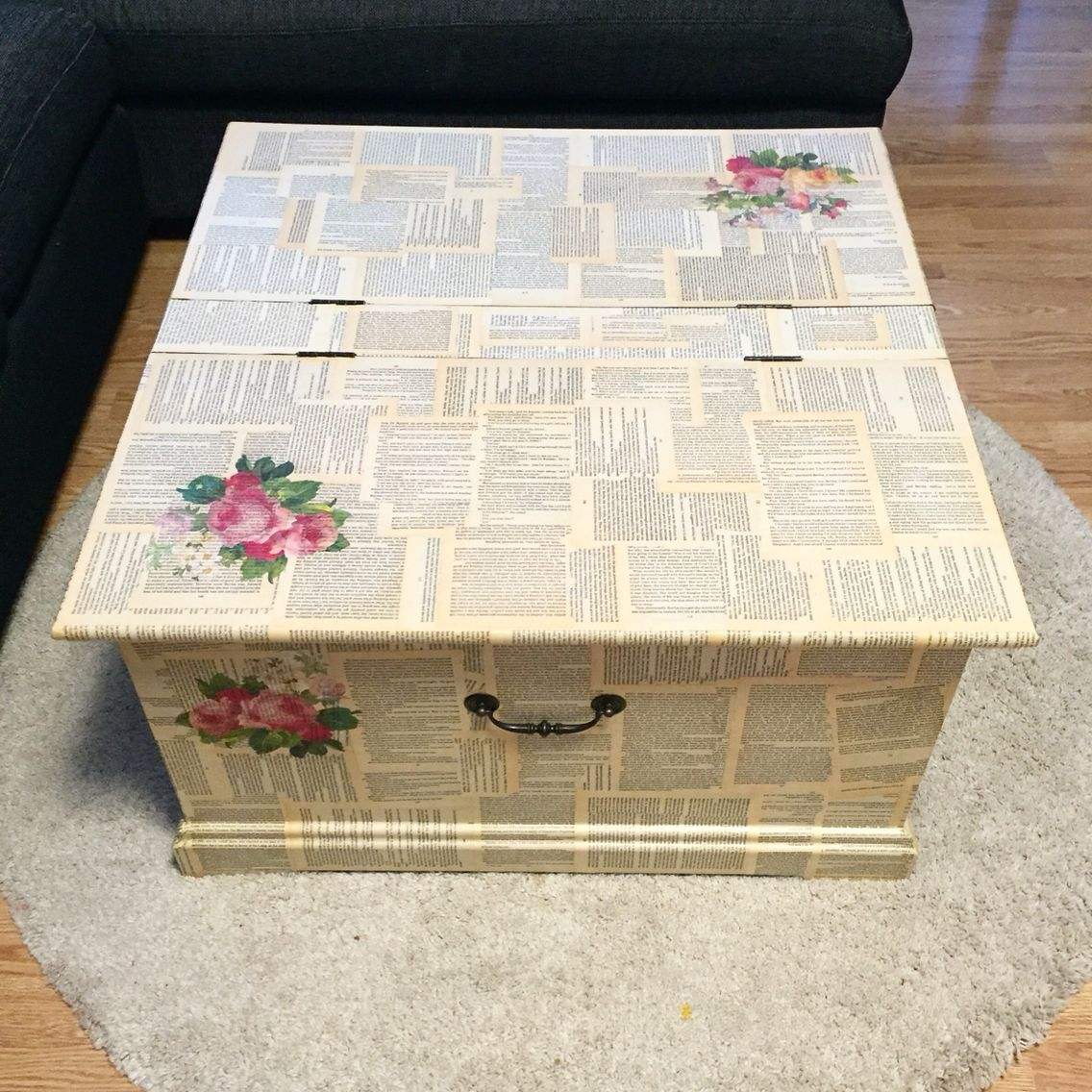 Decoupage trunk table Mod podge Old book pages decoupage My