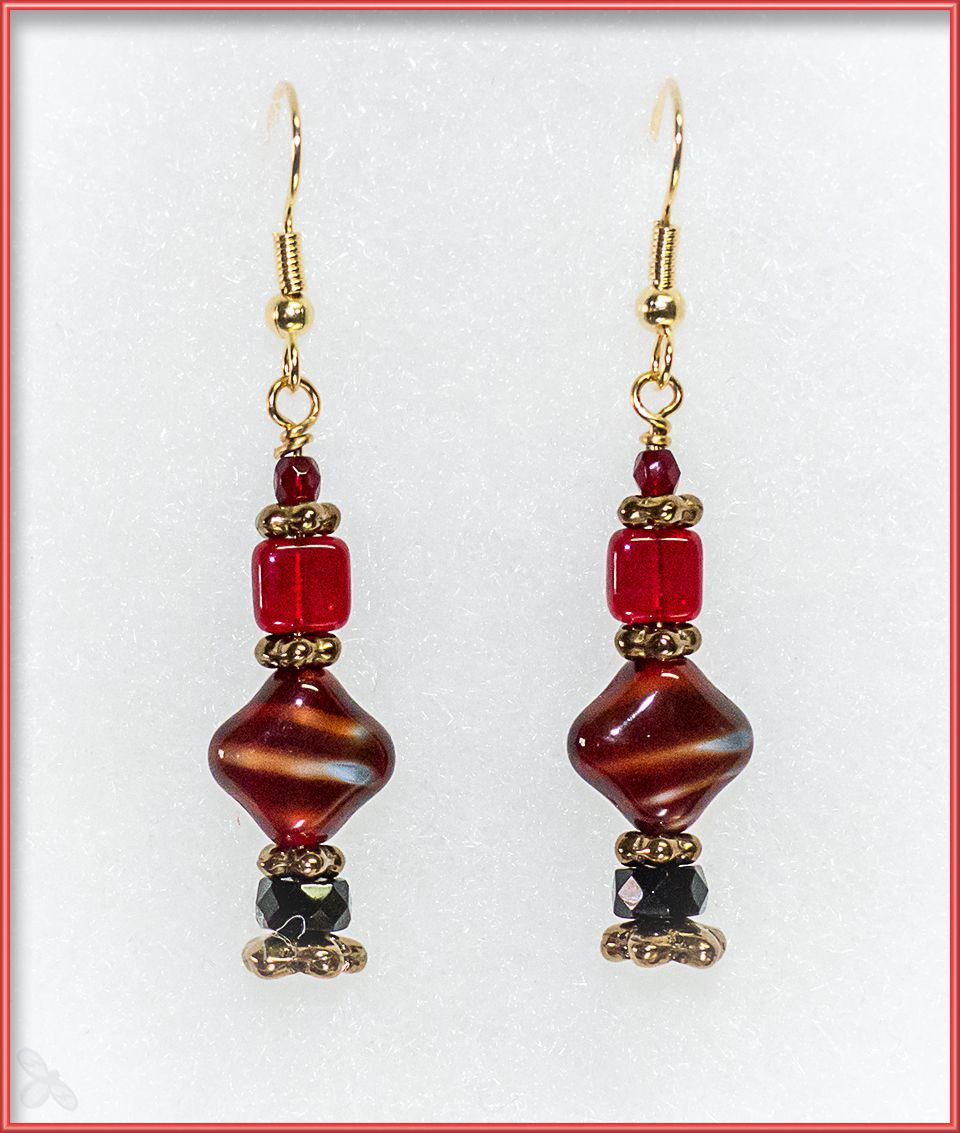 Czech glass earrings in red and black diamond