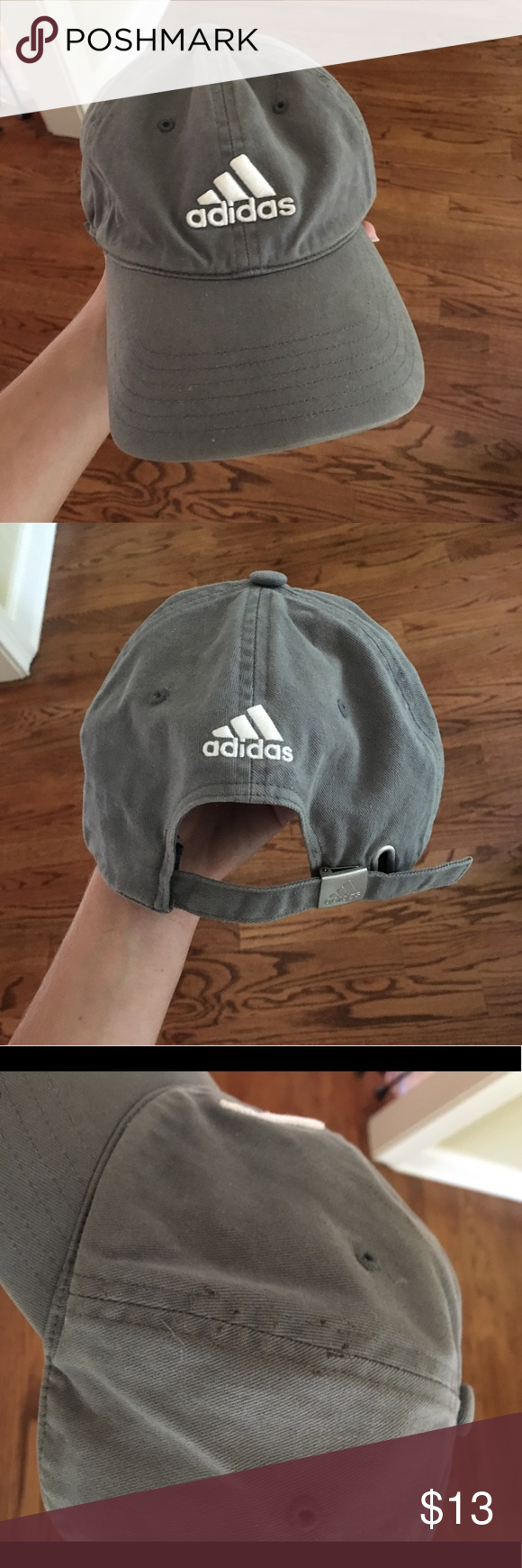 Adidas Hat Grey adidas hat! Worn very lightly. Notice the small brown spots  on the seam in the third picture— I ve never tried to get them out though    I m ... 5236e1df8a4