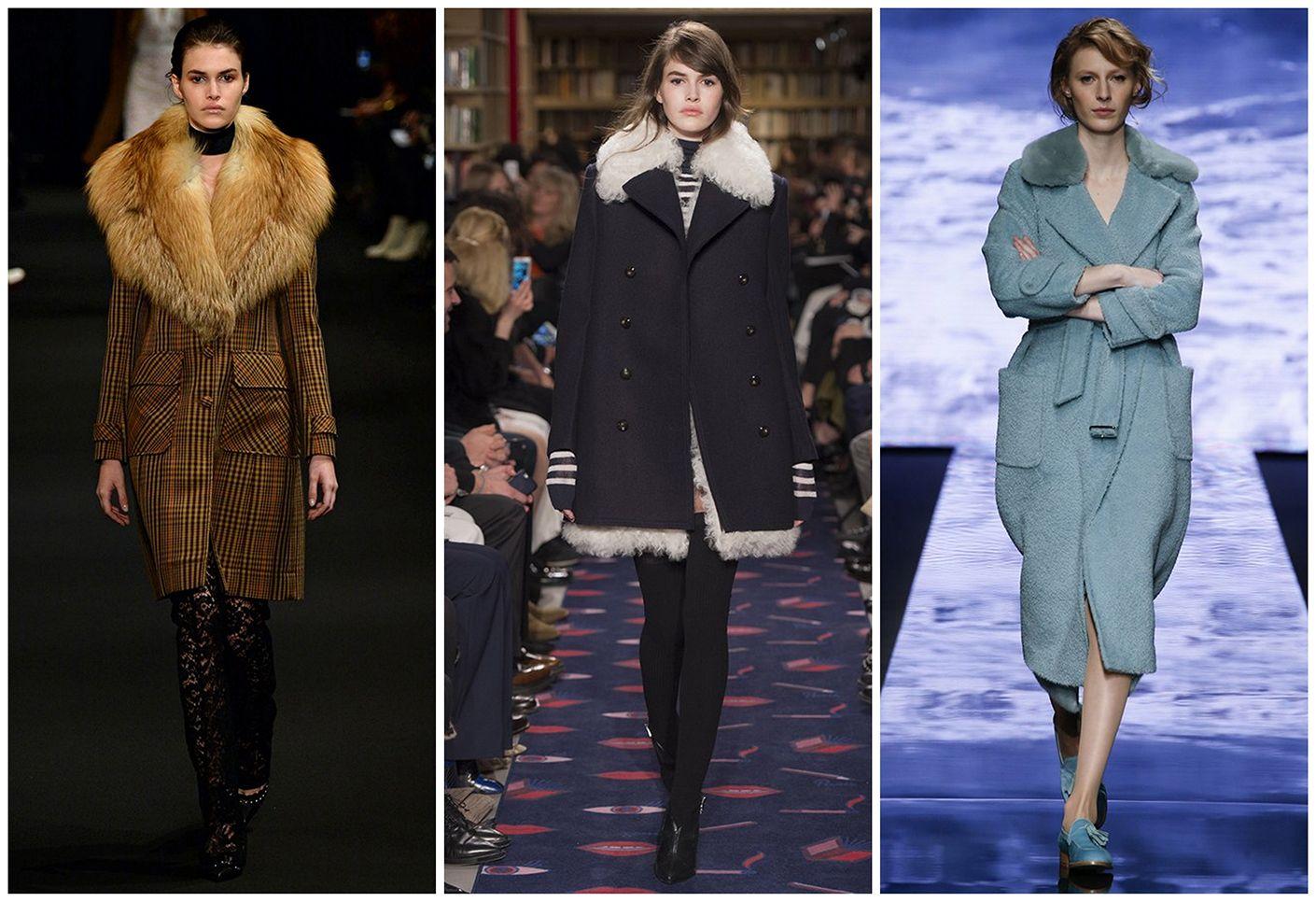 пальто зима 2015-2016 фото женские с мехом