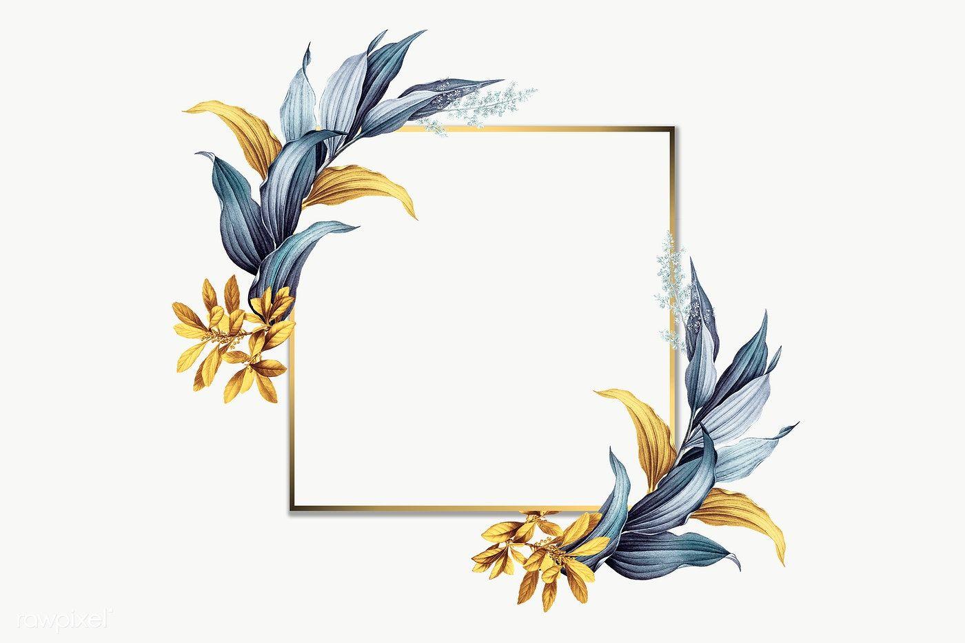 Golden Square Frame Transparent Png Free Image By Rawpixel Com Adj Flower Background Wallpaper Flower Illustration Square Frames