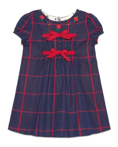 Z1QUR Gucci Cap-Sleeve Embroidered Check Shift Dress, Navy/Red, Size 6-36 Months