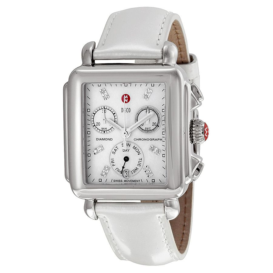 532adc988de8c5 Michele Signature Deco White Mother of Pearl Dial Silver Leather Ladies  Watch MWW06P000023