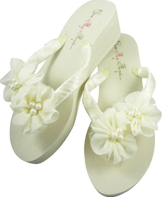 f7b8463a5ac65 White Chiffon Pearl Flip Flops - Wedding Bridal Bridesmaid Flip Flops