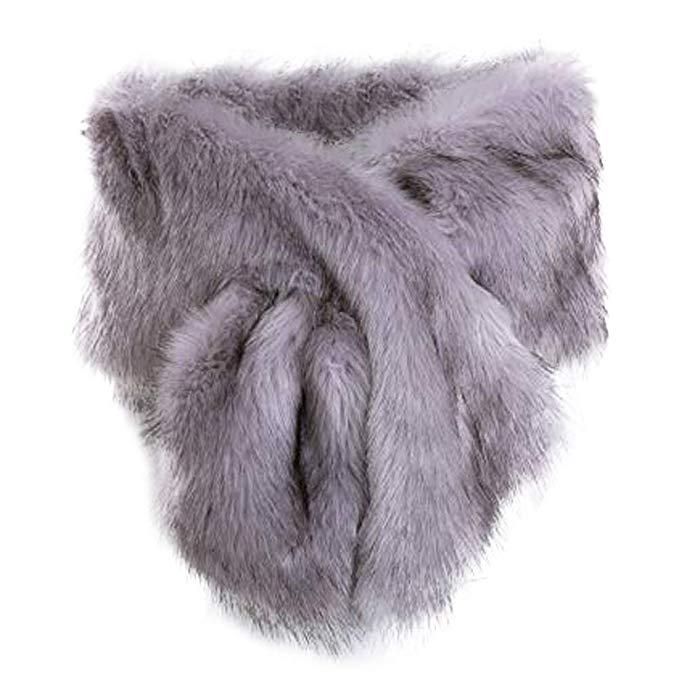 Women Long Faux Fur Shawl Bridal Stole Cover Up Winter Soft Bolero Scarf