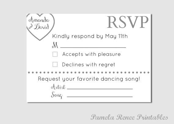 Personalized Wedding RSVP Card With Song With Song Request Wedding
