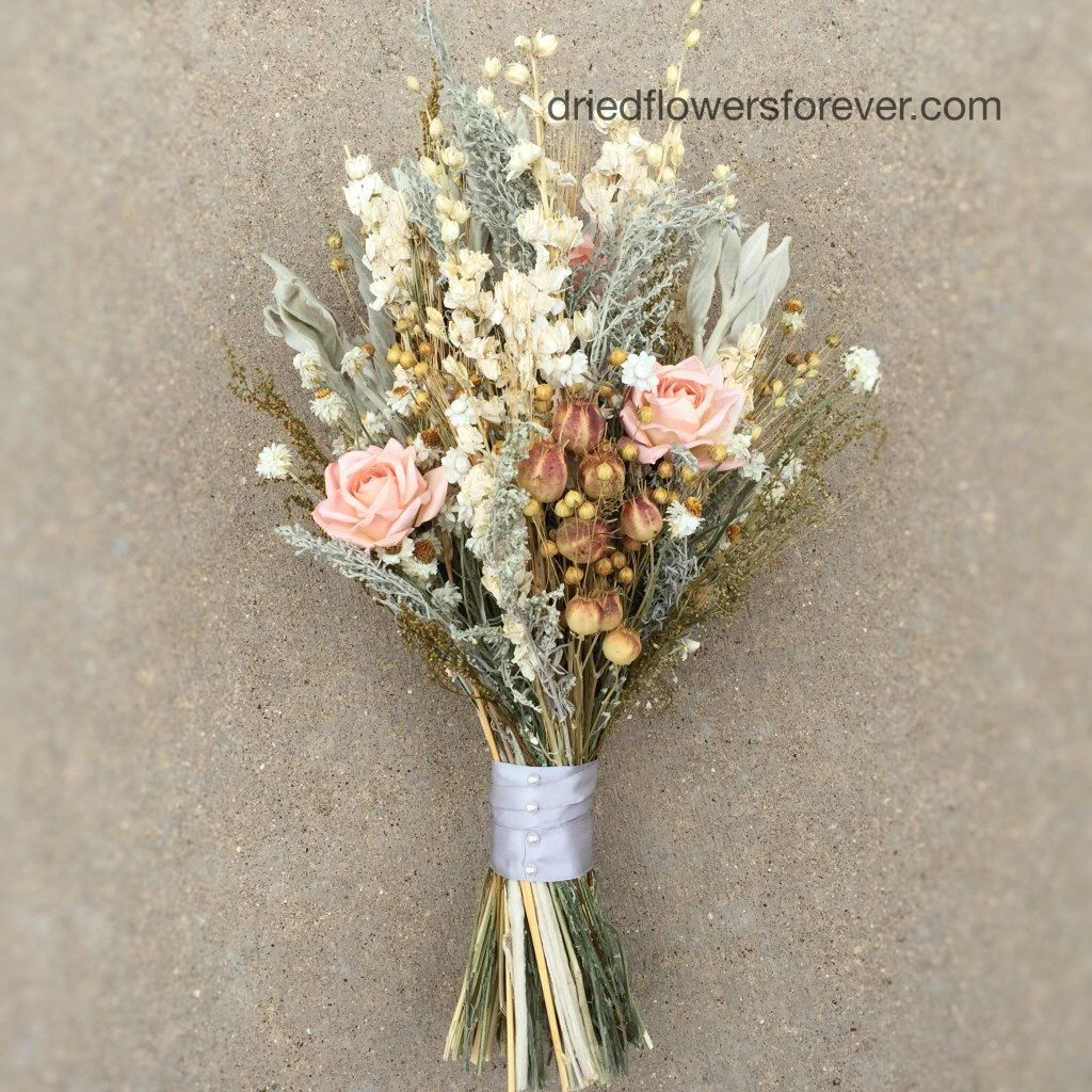 Peach Dried Flower Wedding Bouquet - Preserved Natural Bridal ...