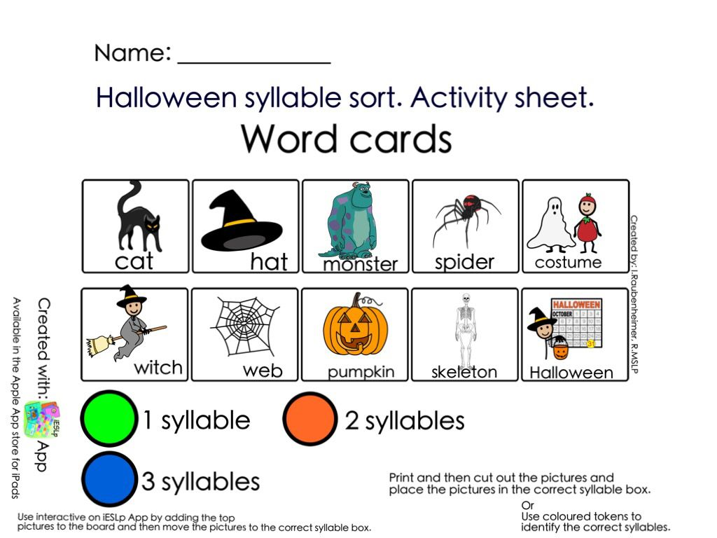 Halloween Syllable Sort Cards Print Copy