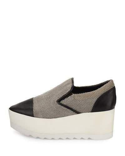 X3F0S Kendall + Kylie Tanya Woven Platform Skate Sneaker, Black/White