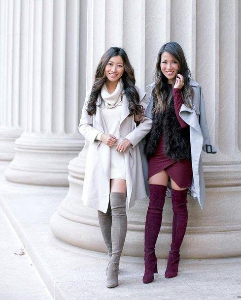81d56bc354b6 Shoes  tumblr over the knee boots girl squad friends thigh high boots grey  boots high heels boots