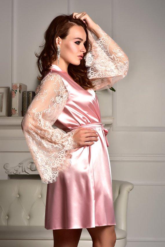 66477f21a7 Bridal party robe Robe with lace sleeves Kimono dressing gown Satin robe  Kimono robe Bridal robe Bri