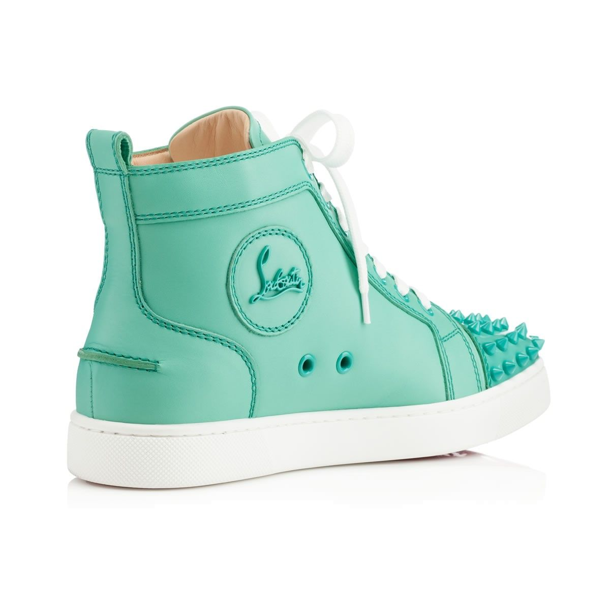LOU SPIKES CALF,AQUAMAR,Calf,Louboutin,Women Shoes. Louboutin OnlineWomen's  FlatsCalvesSpikesShoe ...