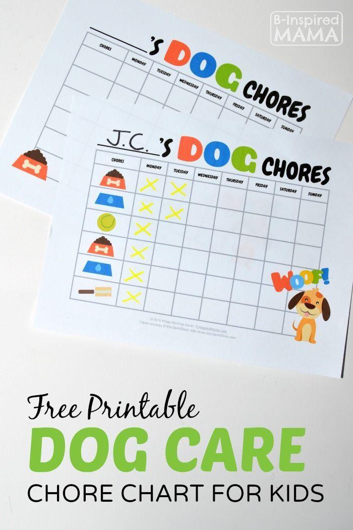 Free Printable Dog Care Chore Chart For Kids Chore Chart Kids