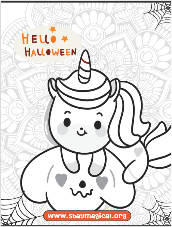 Halloween Unicorn Coloring Pages