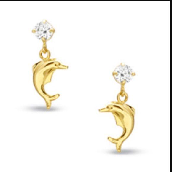 Gold Dolphin Earrings