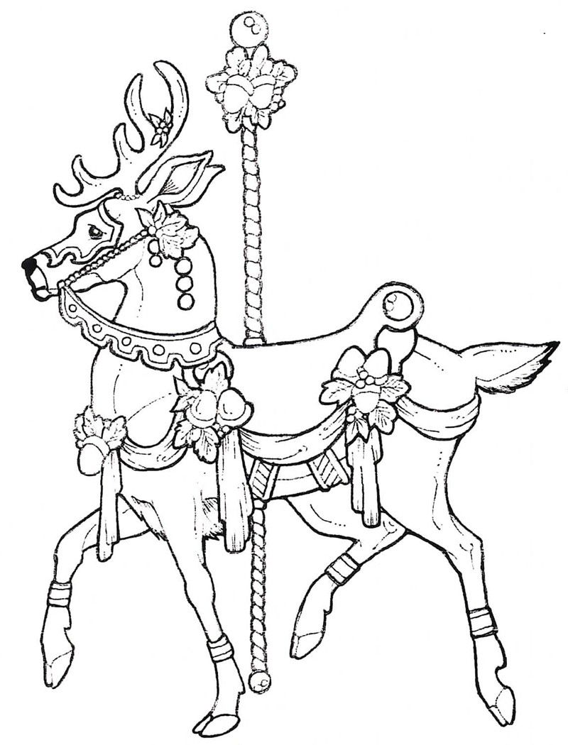 Carousel Deer Stamplistic Animal Coloring Pages Horse