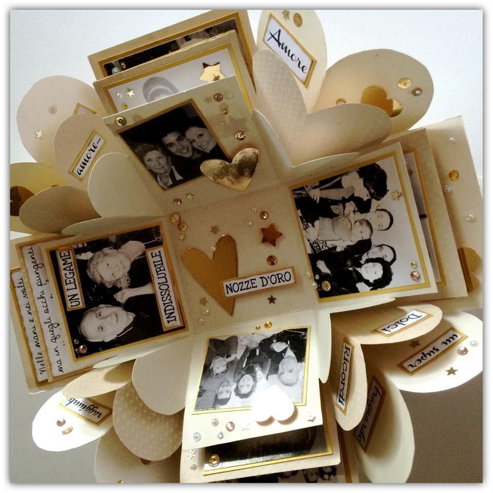 Un Esplosione Di Oro Per Un 50 Anniversario Di Matrimonio 50 Anniversario Explosion Box Fai Da Te Idee Da Regalo Per Il Fidanzato