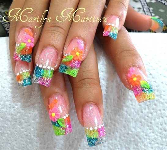 acrylic nail art | 3d flowers and colorful acrylic - Nail ...
